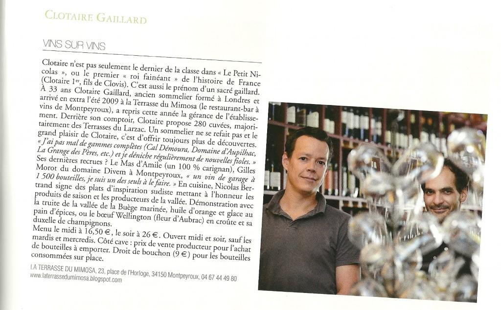 Article Terre de Vins - Sept. 2012