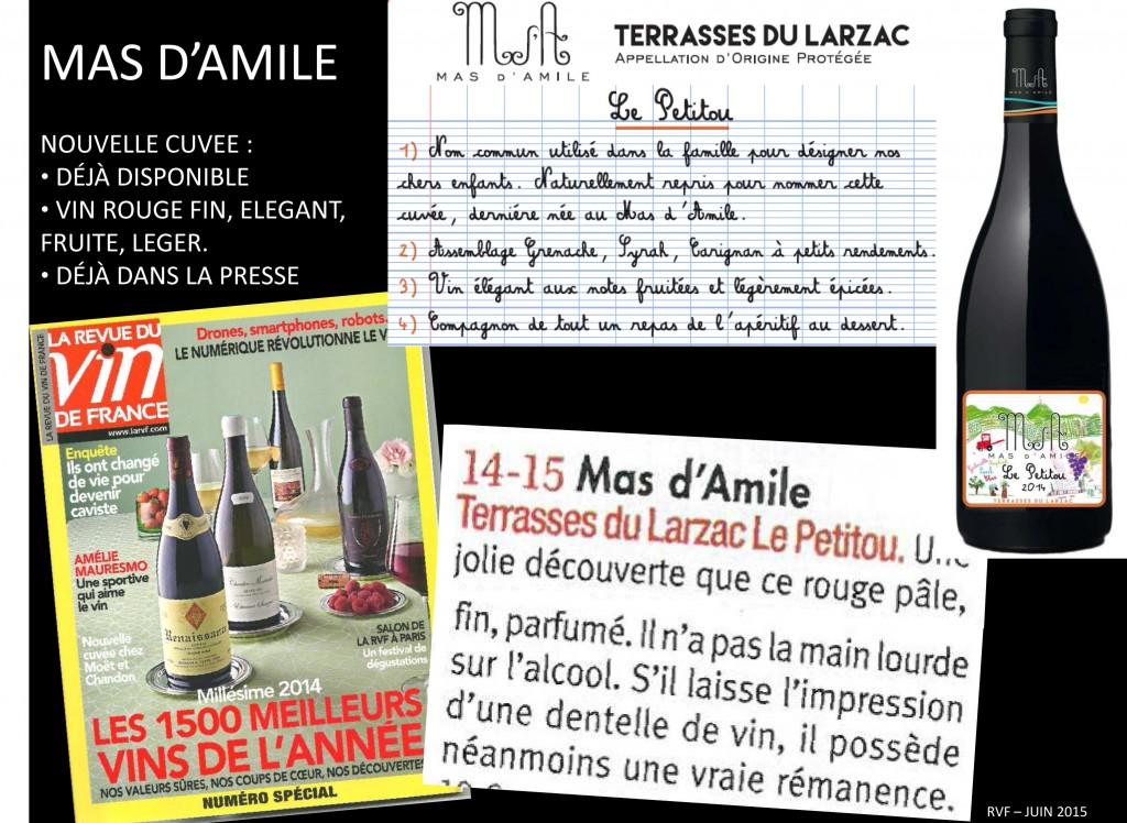 Note de Presse - Mas d'Amile - Le Petitou - Terrasse du Larzac -